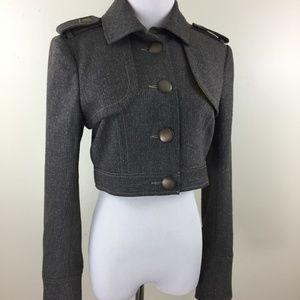 BEBE Wool Blend Brown Gold Specks Cropped Jacket